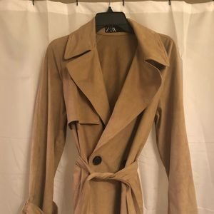 ZARA Double Breasted Short Trench Camel MED suede